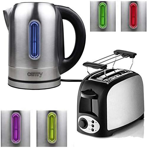 TronicXL Wasserkocher Toaster Set Edelstahl - Mit Temperatureinstellung Temperaturwahl Frühstück Set Frühstücksset Warmhaltefunktion LED Beleuchtung mit Brötchen-Aufsatz