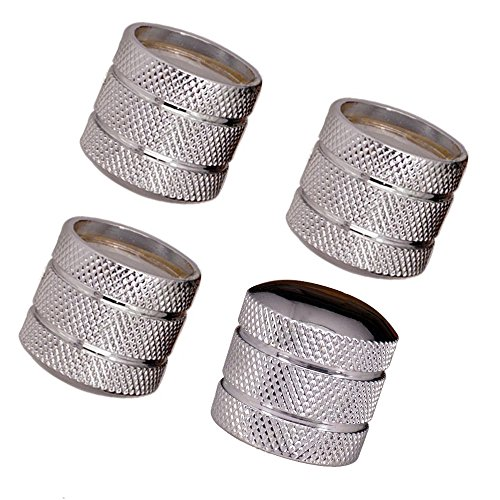 JD Metal Guitar Bass Dome Knobs Volume Tone Control Knob for 6mm Split or Solid Shaft O-Ring Pack of 4 (Silver)