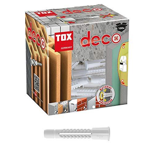 TOX Allzweckdübel mit Kragen Deco 5 x 25 mm, Dübel für fast alle Baustoffe, 100 Stück, 016100011