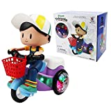 LONGMIRE Stunt Tricycle Bump and Go Toy with 4D Lights, Dancing Toy, Battery Operated Toy Musical...