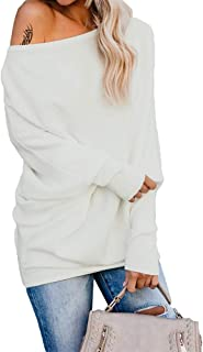 Exlura Women's Off Shoulder Batwing Sleeve Ribbed Shirt Loose Pullover Tops