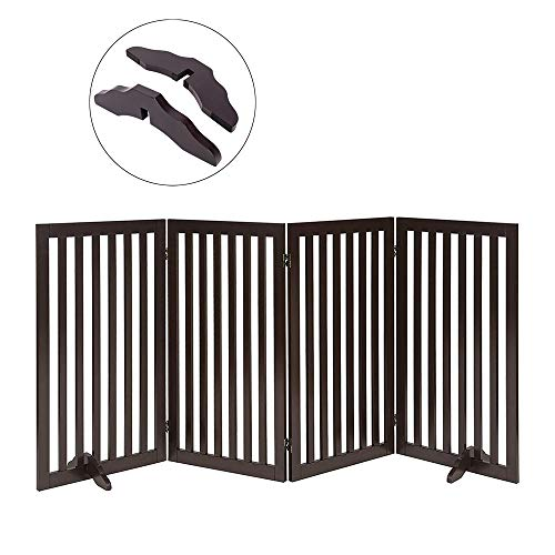 Total Win Freestanding Pet Gate for Dogs with 2PCS Support Feet, Foldable Wooden Dog Gates for Doorways Stairs, Indoor Puppy Safety Fence, Extra Tall Wide, 36 Inches H, 80 Inches W, 4 Panels, Espresso