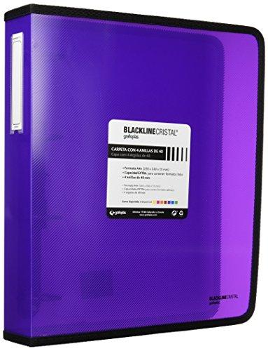 Ggrafoplás 30120635, carpeta anillas violeta a4, polipropileno, 4 anillas de 40mm, serie blackline