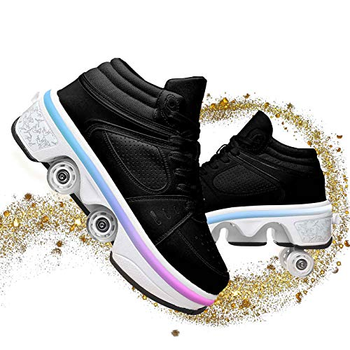 Skates Roller Shoes Zapatillas De Deporte Casuales Patines para Caminar Zapatos Multifuncional Deformación Al Aire Libre para Adultos Niño