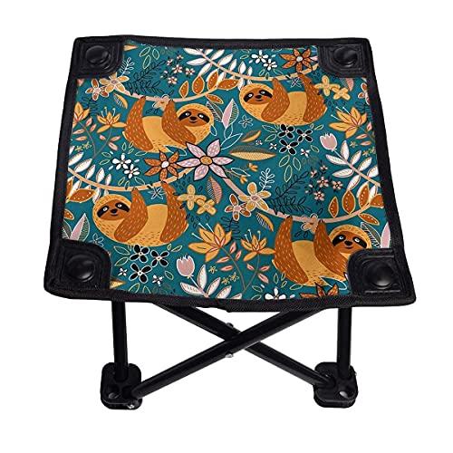CHISHANG Happy Boho pequeña Silla Plegable Taburete Plegable portátil Ligero Buey Banco al Aire Libre para Acampar Pesca Senderismo
