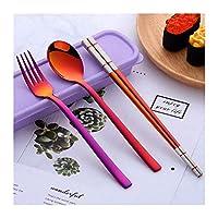 テーブルスプーン/スプーン 3 PCS 304ステンレス鋼アウトドア食器セットキャリングケース麦わらとフォークスプーン箸/トラベルポータブル食器セット グレイビーレードル (Color : Multi-colored-0)