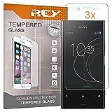 REY [Lot de 3] Verre Trempé pour Sony Xperia XZ Premium, Protecteur d'écran qualité supérieure