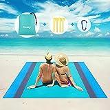 Manta de Picnic Manta de Playa Impermeable, 200x200cm Mantas de Playa Portátiles Grandes con Bolsas de Cremallera Manta de Camping Alfombra de Playa, Parque, Camping, Senderismo, Reunión familiar