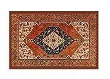 HomeLife - Alfombra de estilo persa / oriental, lavable para salón/dormitorio/sala de estar con fondo antideslizante, estampado digital de inspiración oriental, color naranja