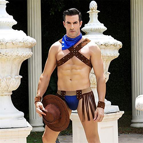 Z-DJJ Männer Exotische Kleidung, Cosplay Rollenspiel Sexy Western Cowboy Uniform Kostüm Set Quaste Kurzes Outfit Set Halloween Tops Hut (One Size)