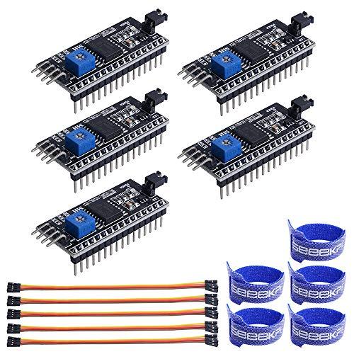 GeeekPi 5PCS LCD1602 Adapter Board Module IIC I2C TWI SPI Serielle Schnittstellenkarte Modulanschluss PCF8574 Erweiterungskarte für LCD1602 LCD2004 Anzeige