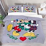Juego de funda de edredón para cama de 3 piezas, diseño de Mickey Minnie con besos, color gris