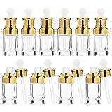 Scicalife 10 Unidades de Botellas Cuentagotas Recargables 50Ml de Vidrio Claro Botellas de Muestra Cosméticas Vacías Envases de Perfume Vial para Aromaterapia Líquida Fragancia Luz Dorada