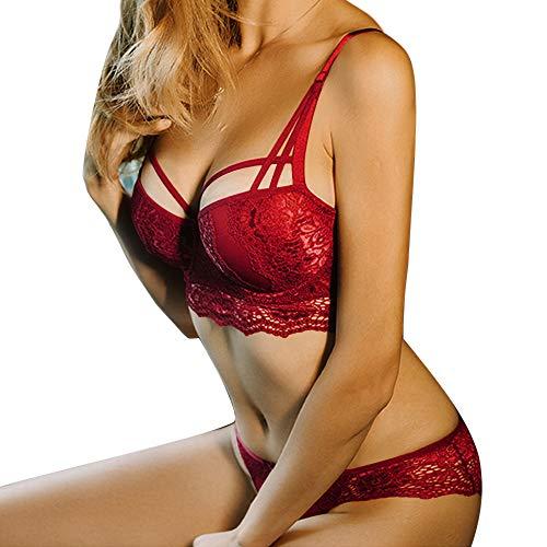 MoneRffi Damen BH Set Spitze V Push Up Bügel BH Bra und Slip Sexy Unterwäsche Lingerie Panty Dessous Sets(B#rot,75B)