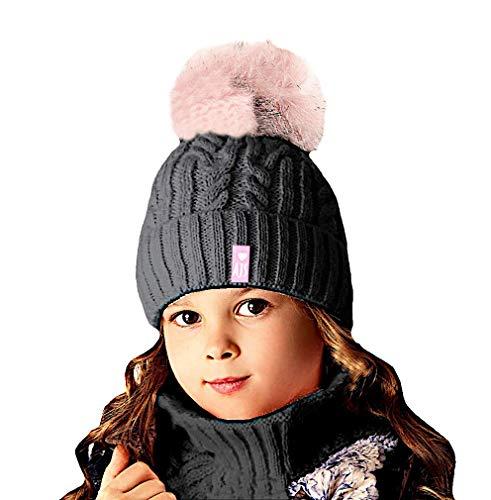 EU Ware AJS Mädchen Winterset mit Wolle Wintermütze Bommelmütze Strickmütze Loopschal Schornsteinschal Farbe Graphit