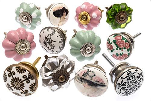 verschiedene Vintage Style Schrankknöpfe aus Keramik x 12 (GEE-02) - \'Vintage-Chic\' TM
