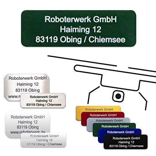 Roboterwerk Drohnen-Kennzeichen - 3 Zeilen, 30x10mm, optional mit e-ID, Aluminium eloxiert Grün, hochwertige Laserbeschriftung