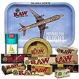 Bandeja para liar RAW Avión 27,5cm x 17,5cm + Cenicero RAW + Bote Antiolor THE...
