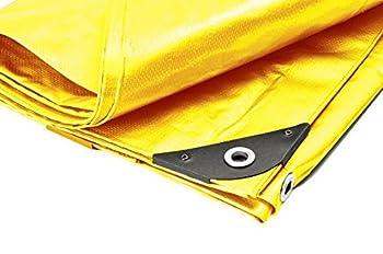 Canopies and Tarps 15  X 15  Heavy Duty Premium Yellow Poly Tarp  14 6  x 14 6