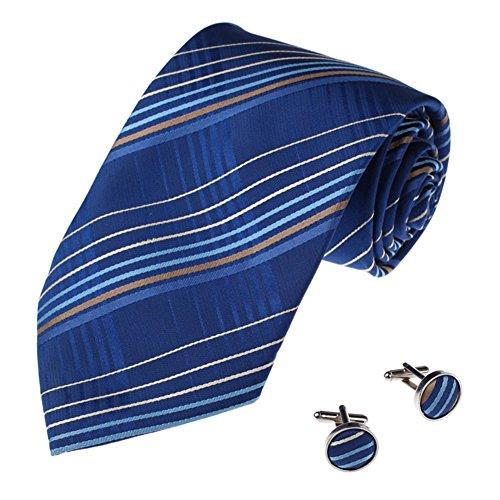 CHAOXIAN Männer Krawatte Manschettenknöpfe Anzug Seide Geschäft Hochzeit Zubehör Pfeilförmig, 8 Farben Krawatte Größe-8,5 * 148cm, Manschettenknöpfe Durchmesser-1,5 cm (Farbe : Dunkelblau)
