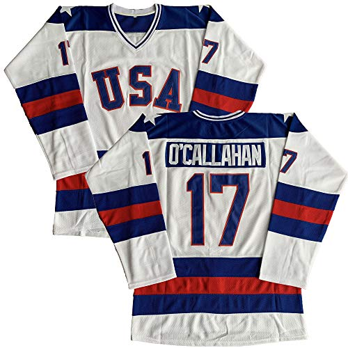 #21 Mike Eruzione 1980 Miracle On Ice USA Hockey 17 Jack O'Callahan 30 Jim Craig Stitched Hockey Jerseys (17 White, XXX-Large)