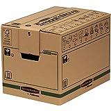 Caisses de Déménagement,Carton Double Epaisseur pour Usage Intensif SmoothMove avec Poignées-Montage sans Adhésif, Système d'Assamblage Automatique FastFold, 37,5 ltr, 30 x 30 x 40,5 cm (Lot de 5)