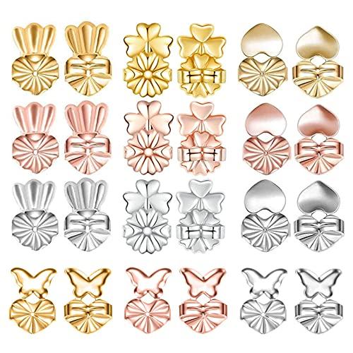 12 Pares Levantadores de Pendientes Earring Backs Lifters Elevadores de Pendientes Plata para el Soporte de los Orificios de las Orejas Levantadores de Lóbulos (8 Plata,8 Oro Rosa,8 Oro)