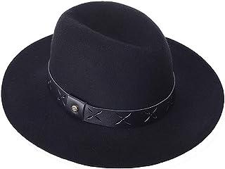 AIEOE - Sombrero de Jazz Fieltro Trilby de Lana Gorra Fedora Retro con ala Ancha Decoración Color Sólido para Fiesta Viaje...