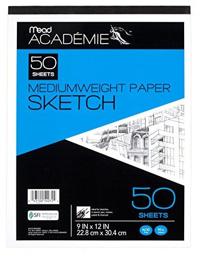 Mead Académie Sketchbook / Sketch Pad, 50 Sheets, 9 x 12 Inch Sheet Size (54072)