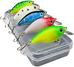 Cofemy Fishing Lure Kit, 5pc Mini Floating Lure Bait Jig Fishing Hook Set With Fishing Tackle Box for Bass Trout Pike Fres...