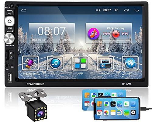 Hikity RDS 2 Din Android Bluetooth Autoradio Navigation GPS 7 Pollici Tattile Schermo Auto Stereo FM AM Tuner WiFi Collegamento a Specchio + Telecamera di Backup & Telaio
