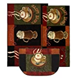 Mohawk Home New Wave Caffe Latte Kitchen Mat Accent Area Rug Set, 20'x45', 30'x46', 18'x30', Brown