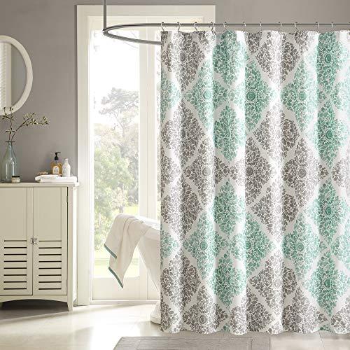 Madison Park Shower Curtain, Casual Diamond Damask Design Modern Bathroom Decor, Machine Washable, Fabric Privacy Screen, 72x72, Aqua