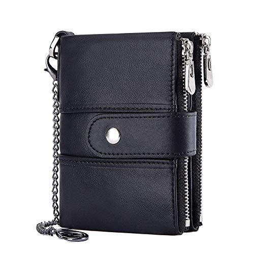 サイフメンズ 財布男性 牛革財布二つ折り コインいれ付き クラシックレトロな雰囲気 アンティーク調 男性 上質折り畳み財布 コスパ最高本革 メンズ 二つ折り財布(黒色)