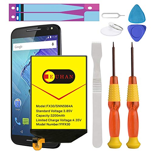 (Upgraded) Moto X Pure Battery, Euhan 3200mAh Rechargeable Li-Polymer Battery FX30 SNN5964A Replacement for Motorola Moto X Pure Edition XT1572 XT1575 Style+Repair Replacement Kit Tools