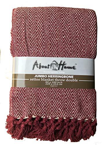 About Home Couvre-lit en Coton Motif Chevrons Marron/Naturel Taille Queen