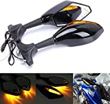 TRP TRADERS Plastic Right, Left Rear View Mirror with Indicators , Manual Visor Mounted for KTM, Yamaha, Bajaj, Suzuki and Universal for Bike