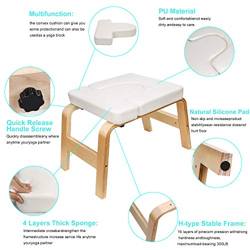 EveryMile Yoga Headstand Bench - Yoga Inversion Stand Chair for Family, Gym Workout Fitness - Wood and PU Pads - Relieve Fatigue and Build Up Body (White)