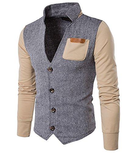 MISSMAO Herren Casual Sakko Slim Fit Freizeit Blazer Casual Männer Business Anzug Jacke Khaki S