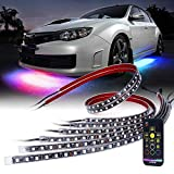 car led lights underbody - Xprite Car Underglow RGB Dancing Light Kit with Wireless Remote Control 6PC Underbody SMD 5050 LED Glow Neon Strip Lights for Trucks