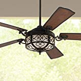 54' Hermitage Rustic Vintage Indoor Outdoor Ceiling Fan with Light LED Remote Control Dimmable Golden Forged Distressed Walnut Blades Damp Rated for Patio Exterior House Porch Gazebo - Casa Vieja