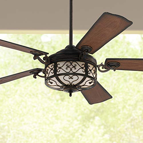 """54"""" Hermitage Rustic Vintage Outdoor Ceiling Fan with Light LED Remote Control Dimmable Golden Forged Distressed Walnut Blades Damp Rated for Patio Exterior House Porch Gazebo - Casa Vieja"""