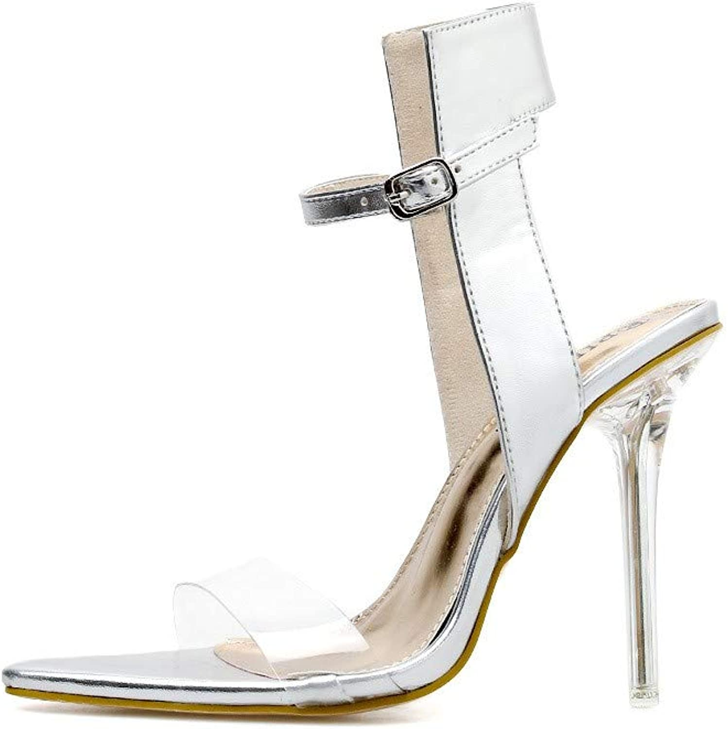 JQfashion Women's High-Heeled shoes Super High-Heeled Sandals Crystal Tip Fine-Heeled Button Sexy Night Club