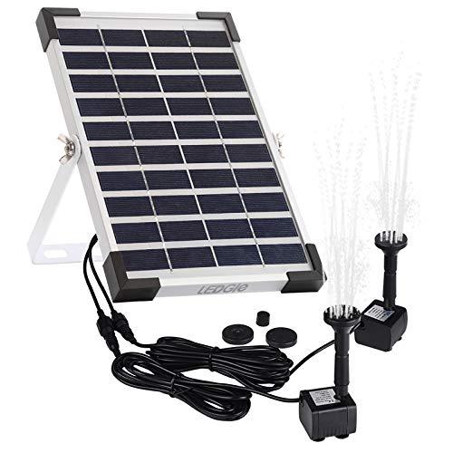LEDGLE [Versión 2019 Bomba de Estanque Solar, Fuente Solar con 2 Bombas, Bomba de Agua para Jardín al Aire Libre, 5W, Caudal 160 L/H