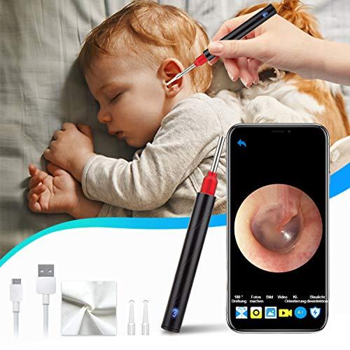 Adhope Otoskop Ohr WiFi Endoskop 3.5mm Ultradünne 5MP HD Drahtlos Otoskop Kamera Ohren Reinigung mit 6 LEDs Leuchten Wasserdichtes Mit Blaulicht-Desinfektionslampe, Intelligente Temperaturregelung