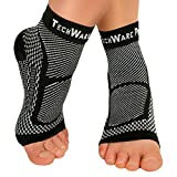 TechWare Pro Ankle Brace Compression Sleeve - Relieves Achilles Tendonitis, Joint Pain. Plantar Fasciitis Foot Sock with Arch Support Reduces Swelling & Heel Spur Pain. (Black, L / XL)