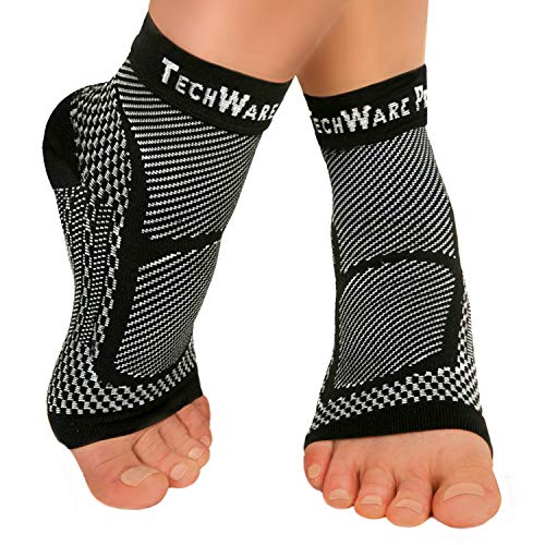 TechWare Pro Ankle Brace Compression Sleeve - Relieves Achilles Tendonitis, Joint Pain. Plantar Fasciitis Foot Sock with Arch Support Reduces Swelling & Heel Spur Pain. (Black, S / M)