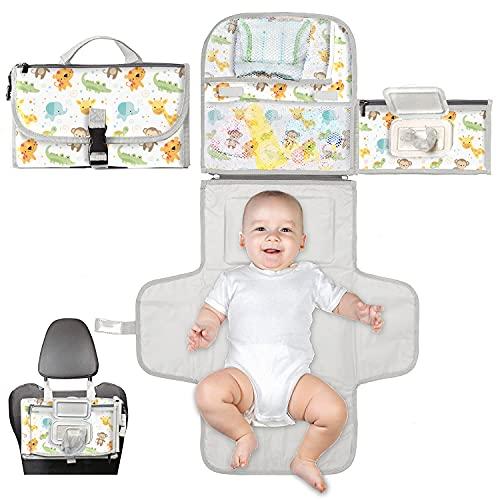 Cambiador bebé portátil XL-Cambiador plegable impermeable ideal como regalo para recién nacido-El cambiador de pañales es un bolso desmontable con 6 bolsillos como neceser para artículos de bebé