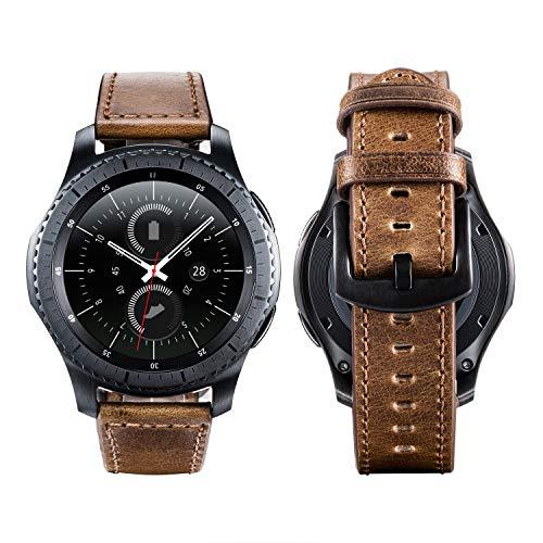 Gear S3 Armband, 22mm Uhrenarmband Echtes Lederband für Samsung Gear S3 Frontier/Classic SM-R760, Moto 360 2nd Gen Men's 46mm etc (Vintage braun)