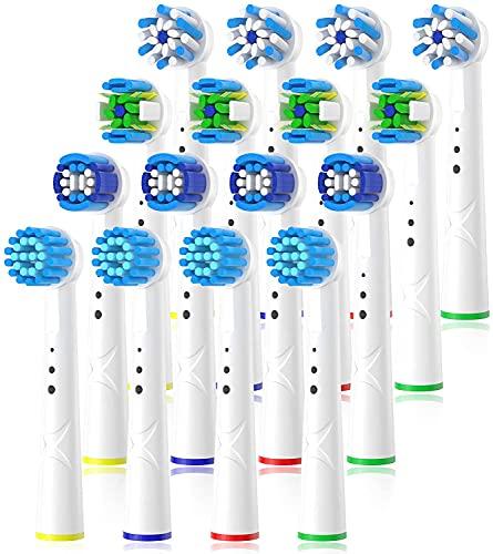 QLEBAO 16er Aufsteckbürsten kompatibel mit Oral B Elektrische Zahnbürste, Ersatzbürsten Aufsätze für Oral B